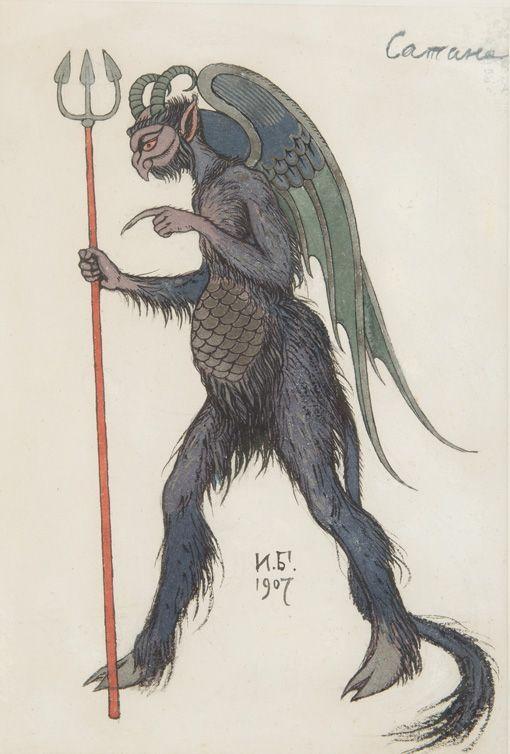 thunderstruck9:Ivan Bilibin (Russian, 1876-1942), Satan, 1907. Watercolour heightened with silver, on handmade paper, 27 x 18.5 cm.