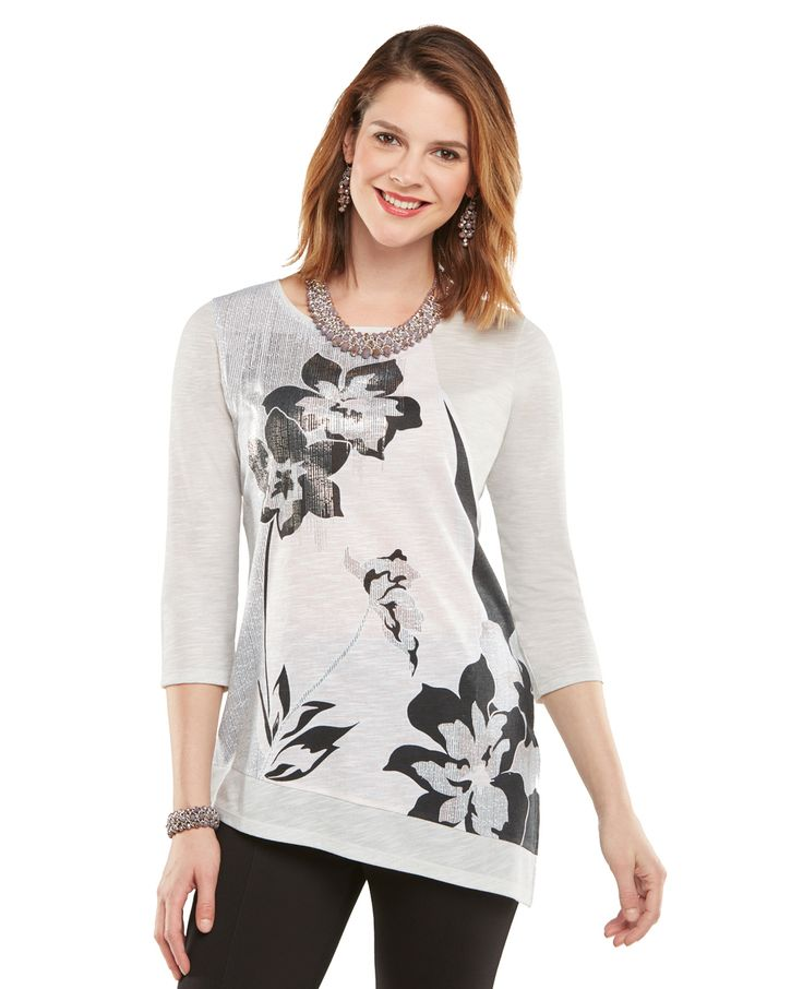 Northern Reflections - Angled Hem Floral Top, $27.50 (http://www.northernreflections.com/angled-hem-floral-top-459982730/)
