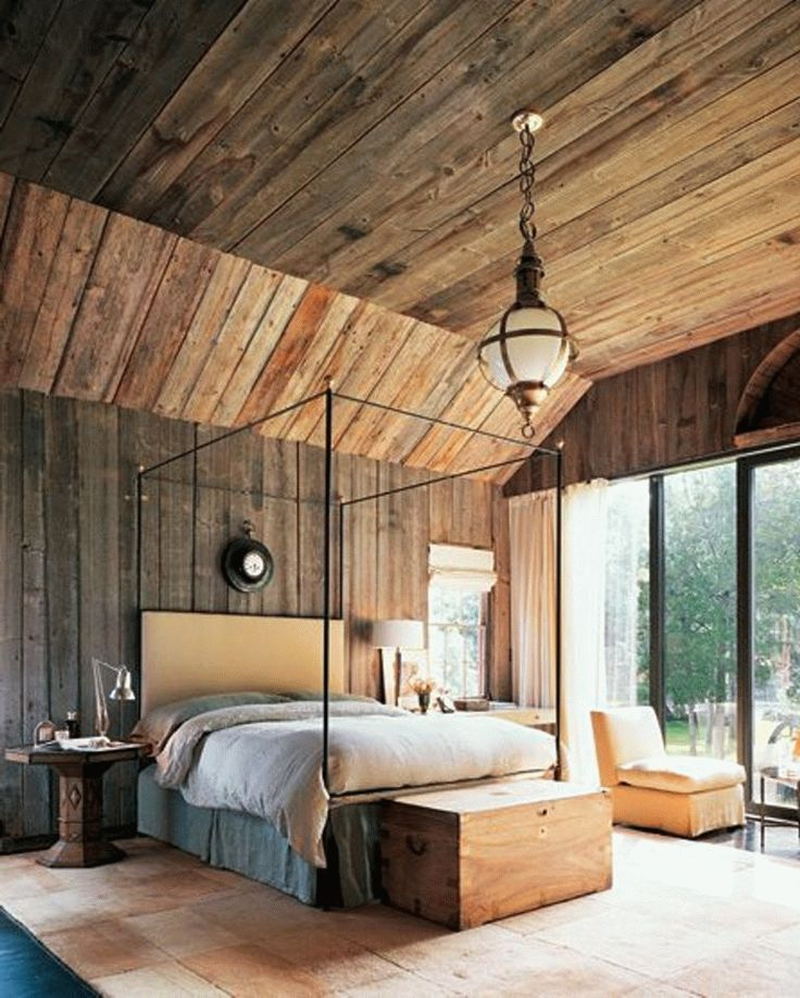 Dramatische Schlafzimmer mit Holzverkleidung - 1001 Haus Deko Ideen