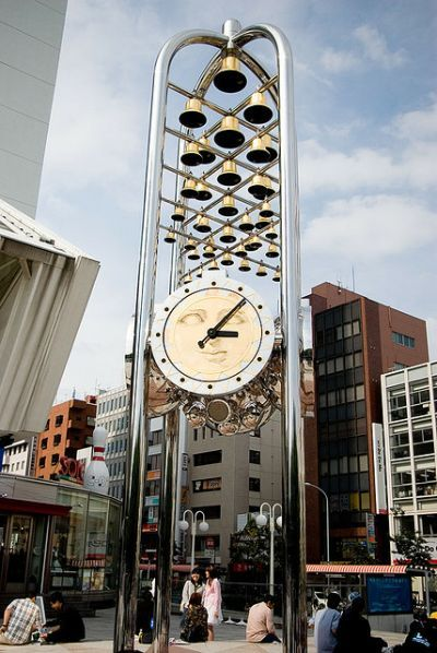 This musical clock sits in front of the Nakano Sun Plaza in Tokyo.  The automaton clock is based on a style that was popular in the Middle Ages.