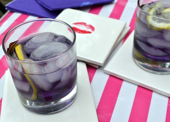 The ingredient that I want to try is the Cream de Violette.  Doesn't that sound yummy.    Violet Fizz    1 part gin  1 part crème de violette  2 parts tonic water  squeeze of lemon  lemon zest
