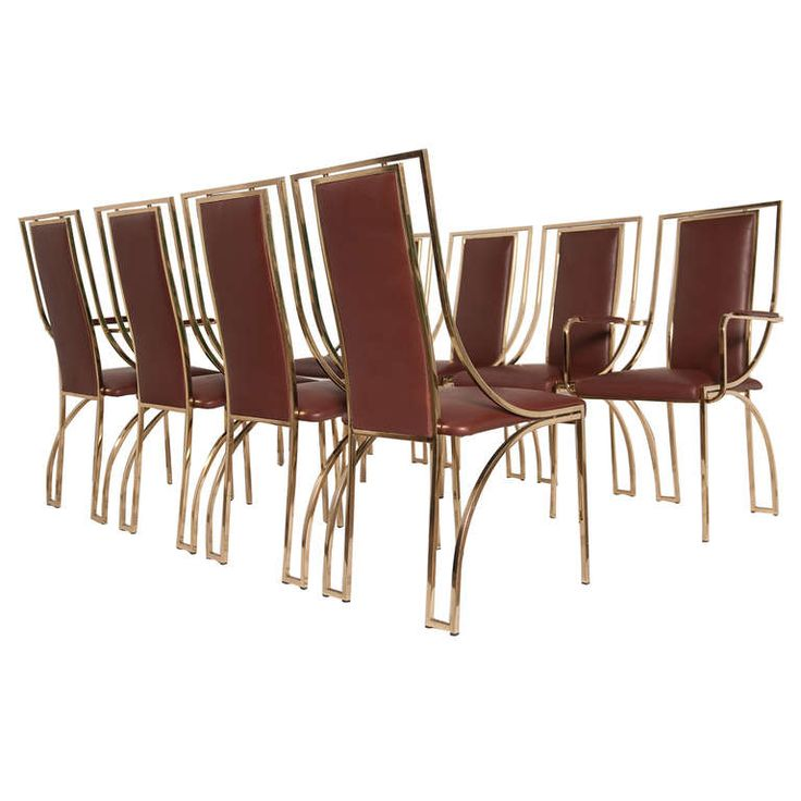 Stunning Set Of 8 Dining Chairs By Renato Zevi In Brown Calf Leather Italy Modern Room
