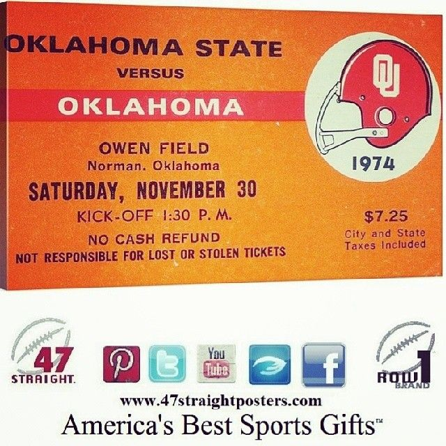 '74 #Oklahoma #OU #Sooners #mancave #gifts ##gifts #startups #startup #brands #Pinterest OU Sooners Man Cave Ideas.  1974 National Champions coached by Barry Switzer. Oklahoma Sooners Man Cave Art. Best OU Sooner Man Cave Ideas. Unique OU Sooners Man Cave Gifts made from historic Oklahoma football tickets. Best man cave art and man cave decor for college football fans! #47straight #mancaves #sportsart #row1brand #giftideas Follow us on Instagram!