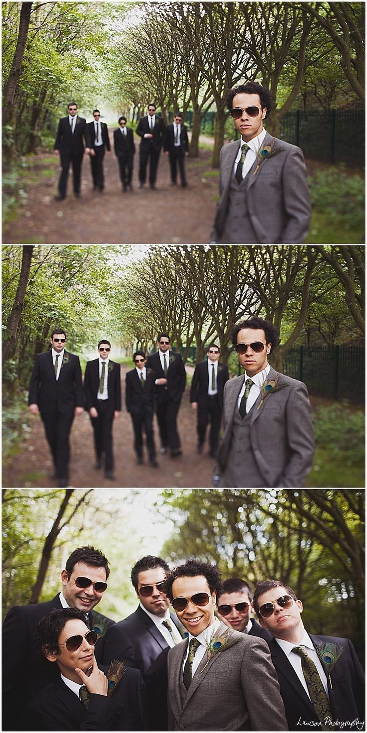 I love how the groom stands out in the gray suit along with a vest