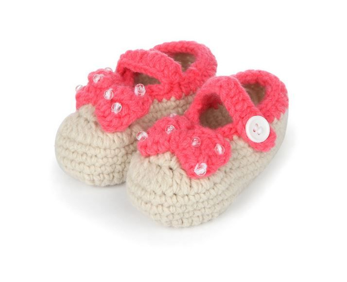 Pink Rainbow Hand Knitted Baby Booties