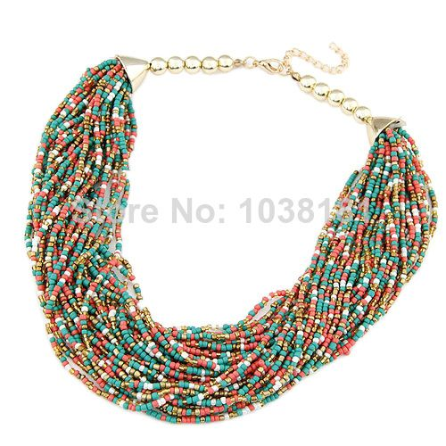 wholesale retail fashion jewelry 2014 tribal bohemian seed beads chain handmade colorful choker necklaces for women 014030801