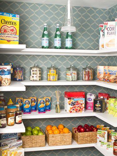 Wallpapered pantry