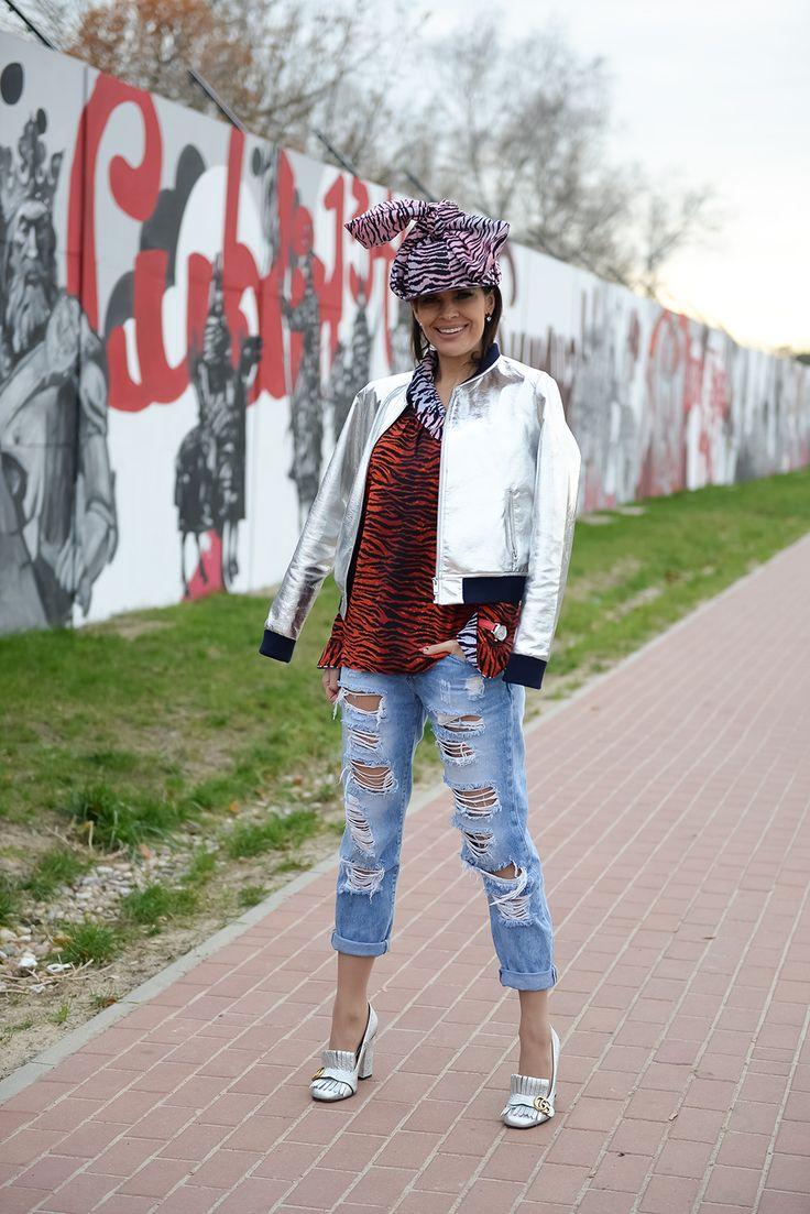 Bluzka-KENZO for H&M Jeans-BIANCO BOUTIQUE Zegarek-DAVOSA Torebka-BERSHKA