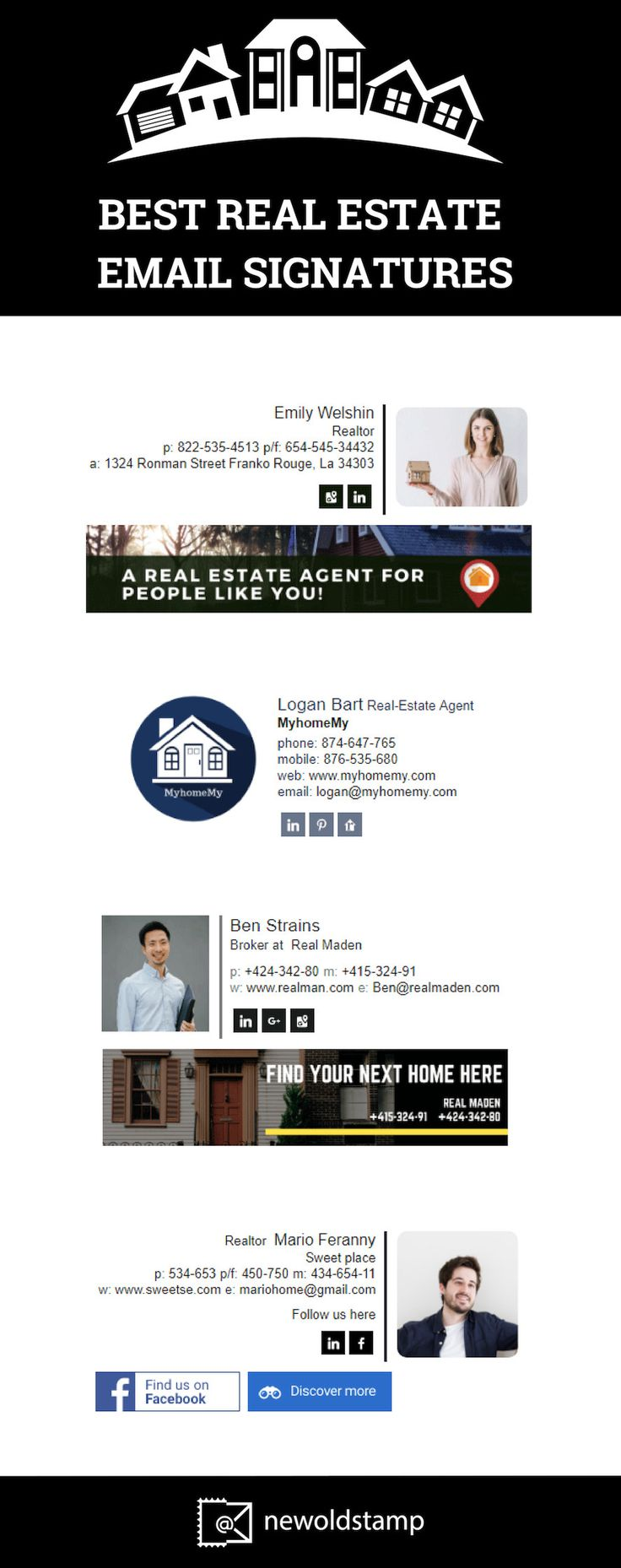 Best real estate email signatures created by NEWOLDSTAMP