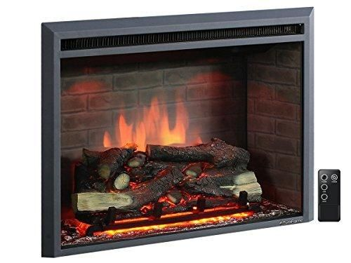 PuraFlame Western 33 inch Embedded Electric Firebox Heater With Remote Control Black