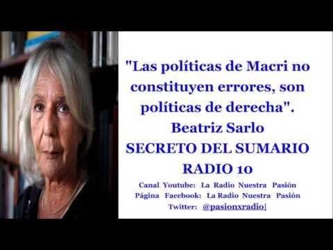 """""""Las políticas de Macri no constituyen errores, son ..."""". B. Sarlo. SECRETO DEL SUMARIO. RADIO 10 - YouTube"""