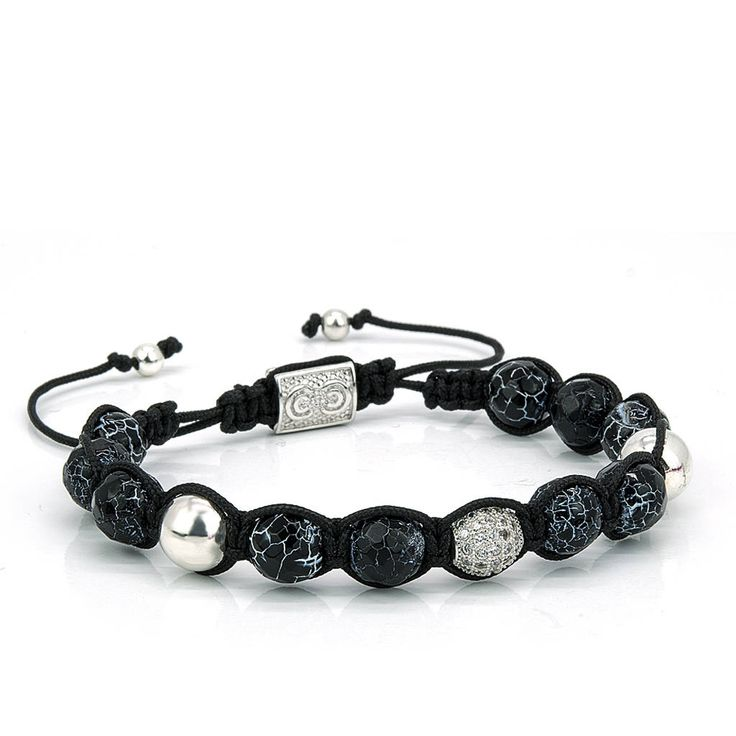 OSLO | Mens Shamballa Bracelet, Weathering Agate, CZ Beads, Sterling Silver, Mens Jewelry, Gift for Men, Anniversary Gift