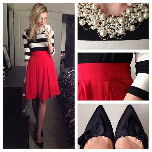 """""""Playing dress up again to bring you another holiday inspired look❤️. I love the idea of using separates for party looks. One statement skirt in a bold…"""""""