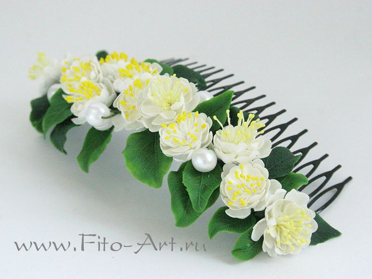Гребень для украшения прически с цветами жасмина - Fito-Art.ru