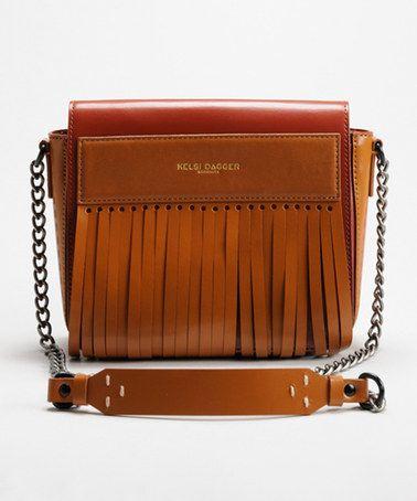 Look what I found on #zulily! Cognac Leather Kilt Crossbody Bag #zulilyfinds