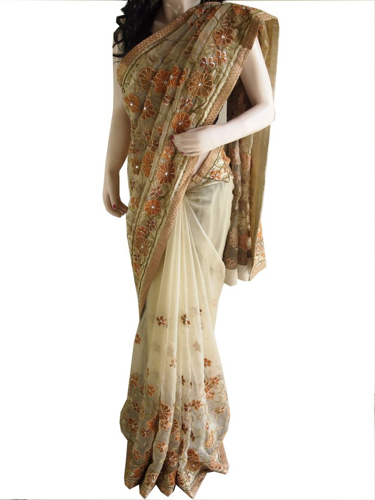 Brand New Golden Glass Tissue Saree With Embroidery