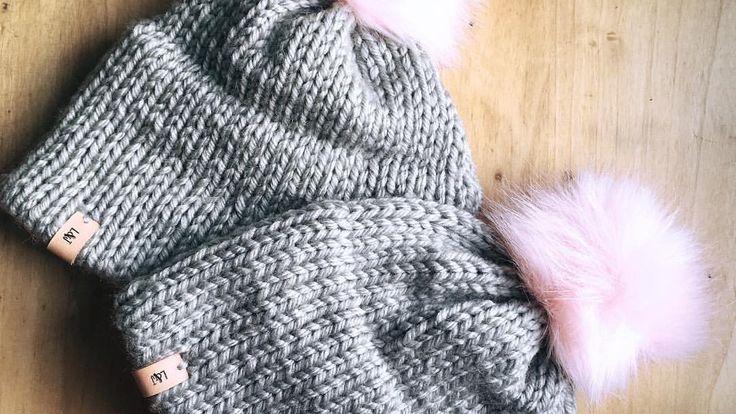 Knit hat / double brim beanie / faux fur pompom / winter hat / leather tag / Etsy