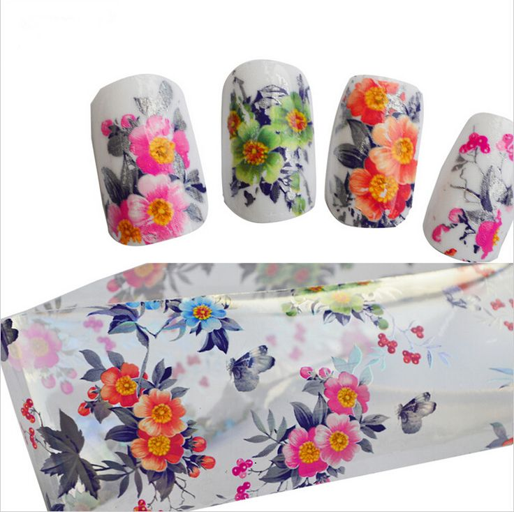 1xNail Tools Beauty Colorful Flower Designs Nail Art Transfer Foils Polish Stickers  Manicure Wraps for Tips Decoration STZXK03