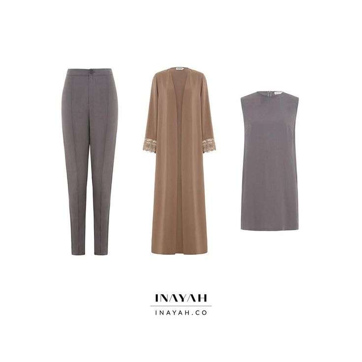 INAYAH | Crafted from 100% soft and breathable tencel, these interchangeable pieces are your go-to for day, work and holiday wear!  Slate Fitted Trousers with Crease  Brown Nude Kimono with Lace Hem Sleeve  Slate Sleeveless Midi with Slits  www.inayah.co