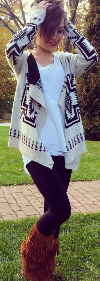 Aztec Sweater   Mocassin Boots