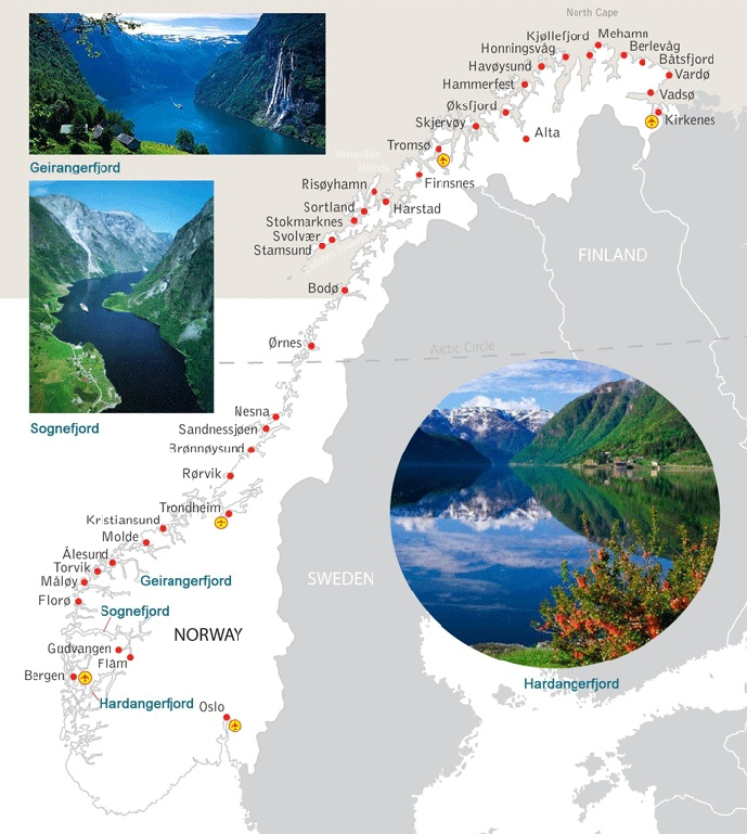 map of norway fjord and cities  oslo-glacier-flam-hardangerfjord-bergen-sognefjord-geirangerfjord-alesund-kristiansund-trondheim-bodo-svolvaer (lofoten islands) - tromso - fly back to oslo/berlin