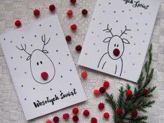 Karten :) #DIY #Renifery #renifer #sweet #christmas #card #rednose #kids #reind …
