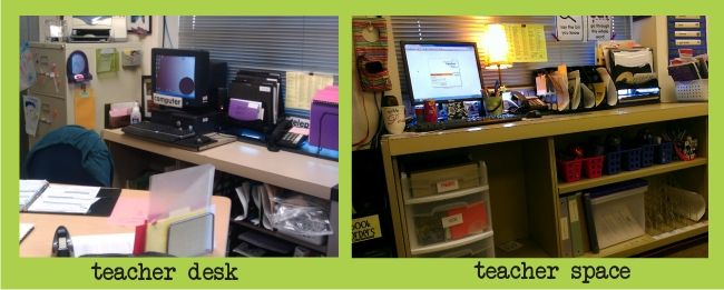 Teacher space instead of a teacher desk...interesting idea to ponder about. I could probably make this happen if I got an additional shelving or storage unit of some sort for my teaching guides, materials, etc.