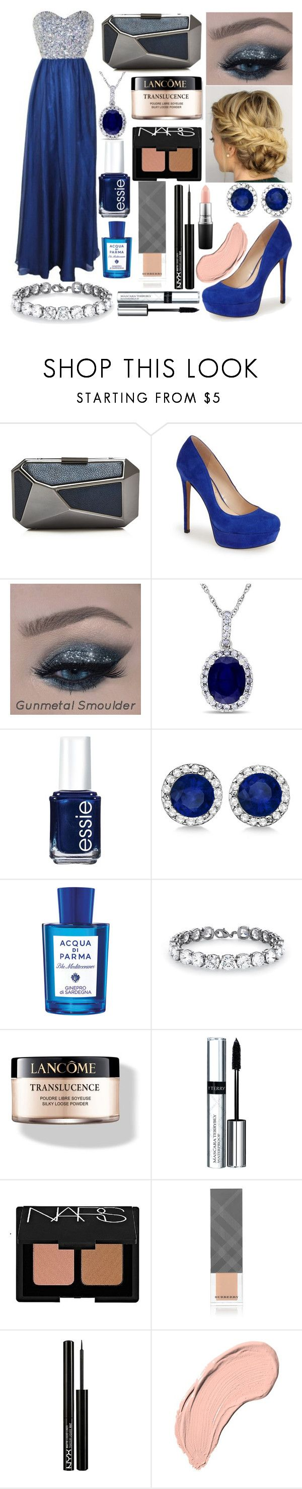 """""""Prom 2K16 #1"""" by carolynevers ❤ liked on Polyvore featuring Ivanka Trump, Jessica Simpson, Allurez, Essie, Acqua di Parma, Palm Beach Jewelry, Lancôme, By Terry, NARS Cosmetics and Burberry"""