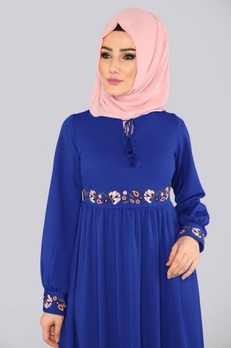 Nakışlı Tesettür Elbise KPRS1110 Saks - Thumbnail