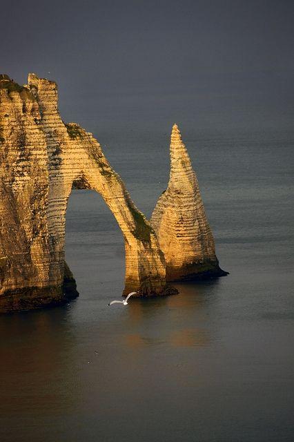 Etretat, Normandy, France. Love that rock bridge!
