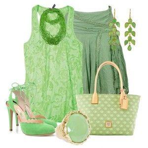 мятные туфли, зеленоватая юбка, светло-зеленый топ, зеленая сумка с золотистой отделкой, золотые украшения