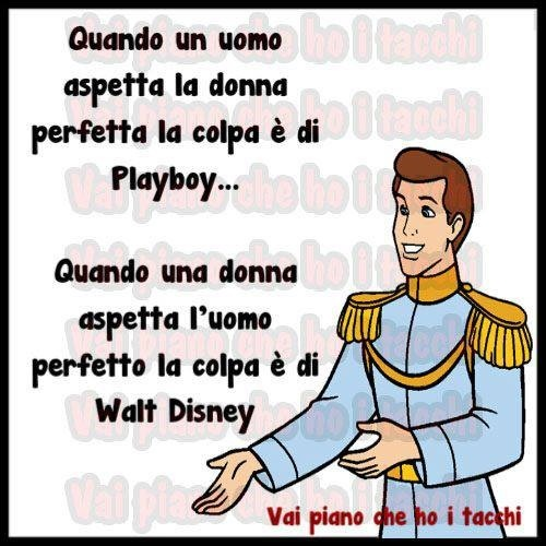 When a man expects the perfect woman, it's Playboy's fault. When a woman expects the perfect man, it's Disney's fault!