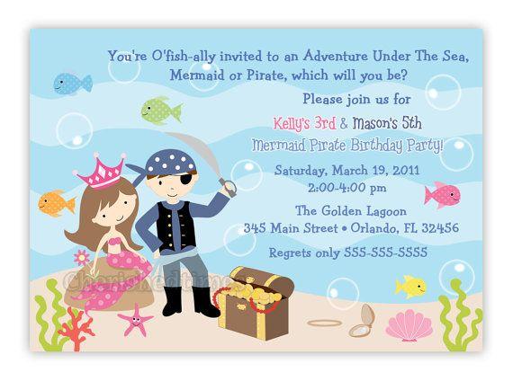 Pirate And Mermaid Birthday Party Invitation Digital File