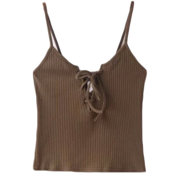 Lace Front Camisole ($19) ❤ liked on Polyvore featuring tops, tank tops, shirts, tanks, brown cami and brown camisole