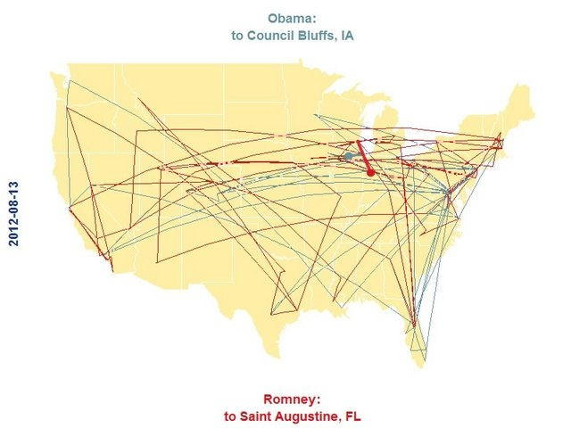 Animated map of 2012 US presidential election campaigning with R and ffmpeg. http://civilstat.com/?p=876