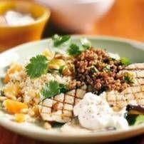 Couscous met aubergine (courgette) en gehakt