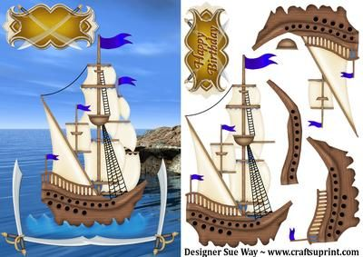 Pirate Ship Card Front & Decoupage