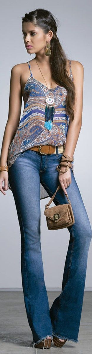 Flare jeans, half-tucked paisley cami tank, whiskey leather belt, high heel sandal .