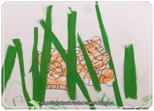 TIGRE   Coloriage, papier crépon….