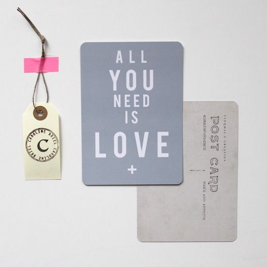 """Image of 3 Cartes """"All You Need is Love"""""""
