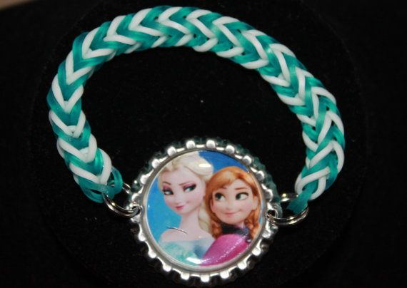 Frozen Bottle Cap Rainbow Loom Bracelet ~ FREE SHIPPING ~ $4.50 i could make this if i had the cap i should get some