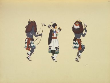 Buffalo Dance Figures, Velino Shije Herrera (Zia), painter. Between 1929-1952 C. Szwedzicki produced 6 portfolios of North American Indian art. These works represent original works by 20th Century American Indian artists. For the complete collection see http://digproj.libraries.uc.edu:8180/luna/servlet/univcincin~28~28.