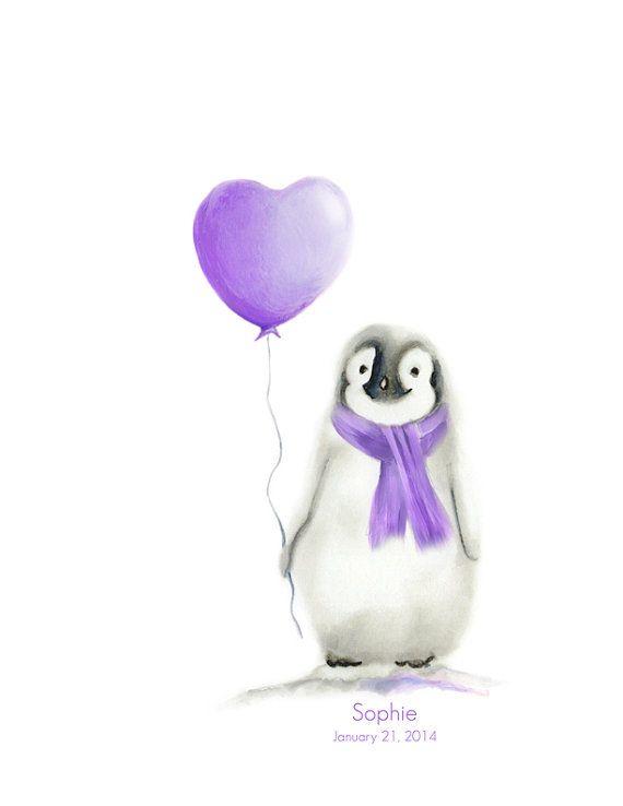 Penguin Nursery Art Love Heart Balloon Custom di studioQgallery