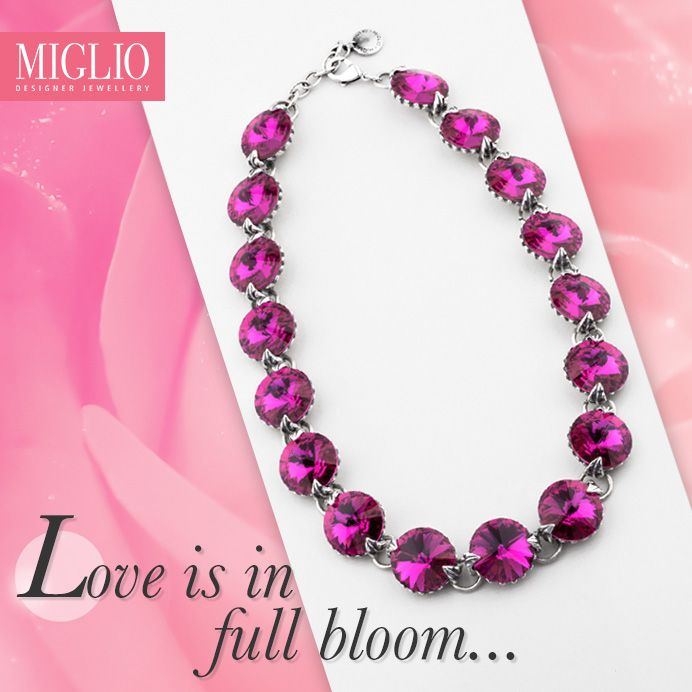 #Love is in full bloom - Take his breath away with #migliodesignerjewellery floral riviére #necklace encrusted with 18mm Fuschia #Swarovski crystals. N1549