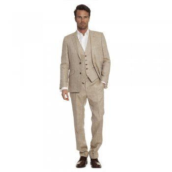 This Spring 2014 Magee have launched a capsule 'Heritage Collection' of suits. The 3-piece suit is everywhere! An ideal suit for a wedding or special occasion. The fabric is a classic beige linen.  The style is our Dillon style - a tailored fitting garment. Jacket features include, slant pockets, side vents and internal pockets. Trousers include belt loops. The waistcoat has two-pockets.