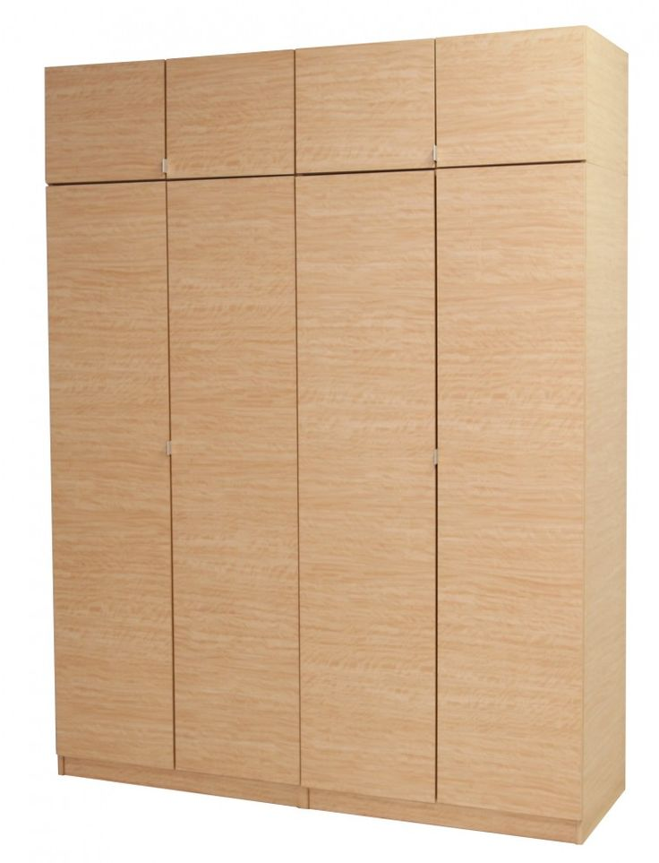 soft brown wooden free standing wardrobe with four doors