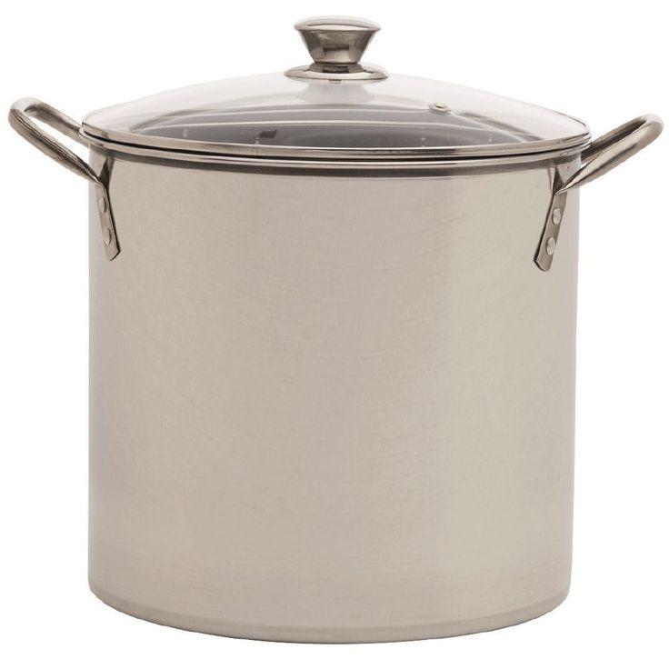 $12 This Stainless Steel Stockpot is suitable for gas, ceramic, electric or hotplate cooktops• 10L capacity• Comes with a glass lid• Approximate dimensions: 25cm (diameter) x 23cm (h)