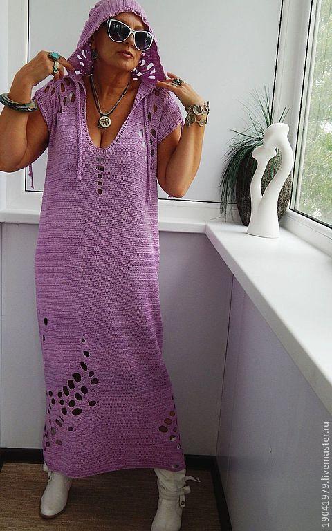 Купить Платье - чехол с капюшоном для отдыха. - авторское платье, платье с капюшоном, брусничный, декоративные элементы