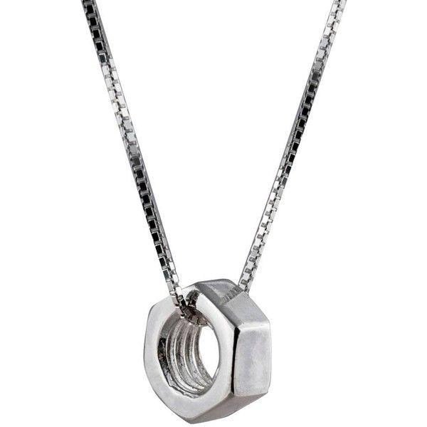 Edge Only - Hex Nut Pendant Large Long (239 AUD) ❤ liked on Polyvore featuring men's fashion, men's jewelry, men's necklaces, mens box chain necklace, mens pendant necklace, mens chain necklace and mens long necklaces