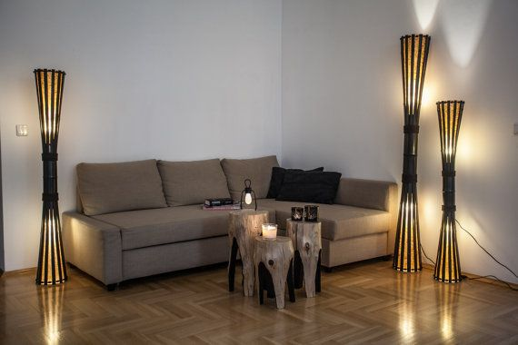 Floor lamp Wood bamboo lamp bamboo furniture rustic by bamboobg